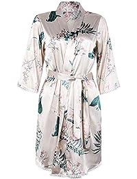 BellisMira Women s Floral Sexy Nightwear Satin Slip Silk Sleepwear Peacock  Blossoms Chemise Lace Sleep Dress V-Neck Nightdress with… 4711b2db7