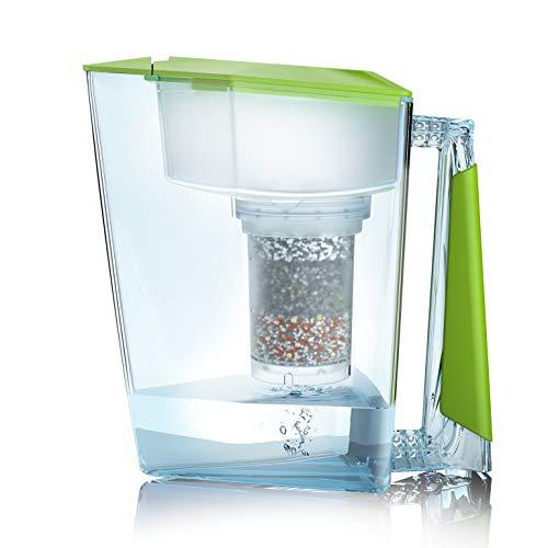 NEU: Wasserfilter Premium Bio Made in Germany inkl. 1 Trinkwasserkanne +1 Filterkatusche und Filterpad (für 3 Monate) - Grün, Trinkwasserfilter + Filterkanne