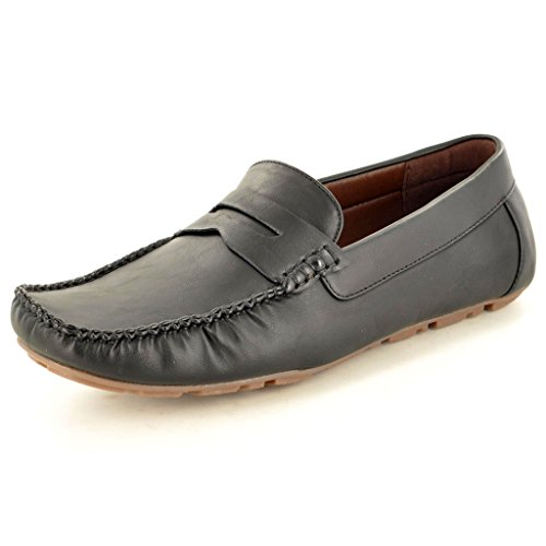 Men'Slipper, Leder s Casual Mokassins Slipper Driving Schuhe Schwarz