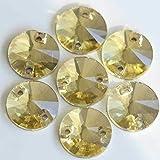 ASTONISH Todos los colores Todos los tamaños Ronda Rivoli cose en el Rhinestone de Flatback 2 agujeros perlas de cristal de vidrio de coser para el vestido Y1515: Junquillo, 16mm 32 uds