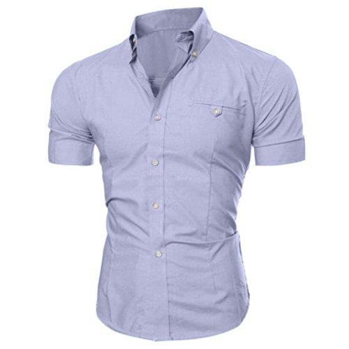Camicetta da uomo,yumm t-shirt uomo elegante slim fit teeshirt camicia polo tee camicie maglia a manica corta maglione felpe hoodie tops pullover (gy, l)