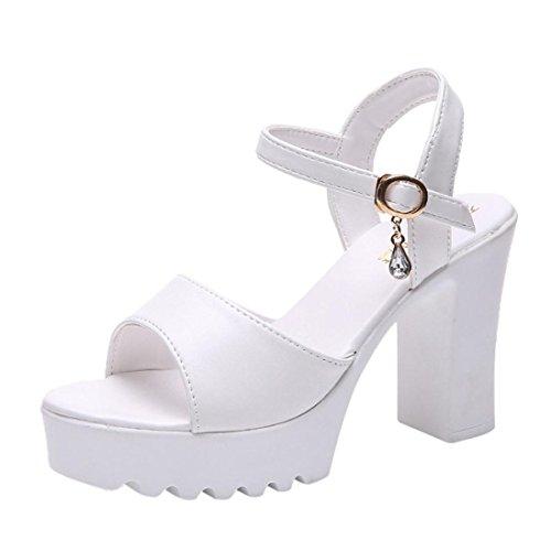 Somesun sandali con inclinazione a fibbia sandali zeppa tacco alto e plateau moda donna impermeabile piattaforma pendio fibbia parola scarpe romane da spiaggia (39, white)