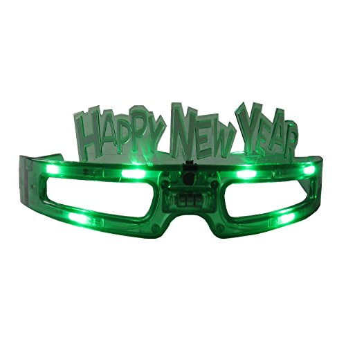 grau.zone Silvester Party Brille Happy New Year Spassbrille Leuchtbrille Grün