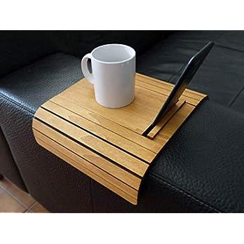 Kleiner sofa armlehnentisch wohnzimmer holz mit iphone und tablet ständer anpassbares helle nusbaum Mini flexibler sofatisch modern Couch tisch lehne klein Armlehnentablett Couchtisch tablett