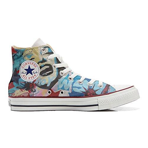 mys Converse All Star Hi Personnalisé et Imprimés Chaussures Coutume, Sneaker Unisex (Produit Italien Handmade) New York City