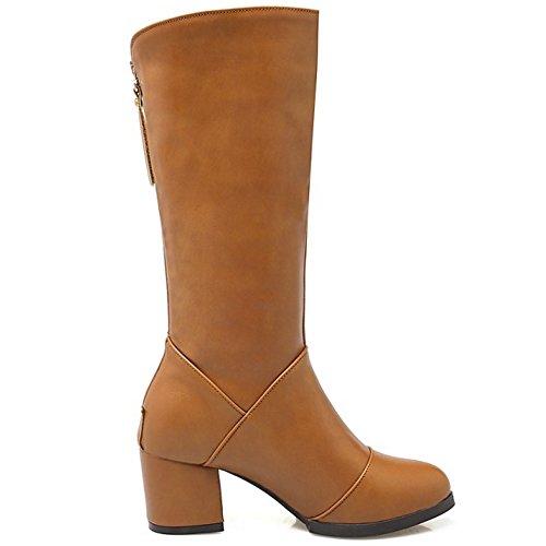 COOLCEPT Damen einfachen Blockabsatz Schuhe westlichen Mitte Wade Stiefel mit Reißverschluss Trend Gelb