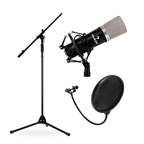 Electronic star Pack Micrófono estudio (micro condensador, frecuencia 20hz 20khz, soporte araña, protector anti-pop)