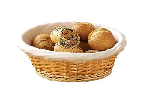 Premier Housewares Wicker Bread Basket with Cream Fabric Lining, 10 x 25 x 25 cm - Natural