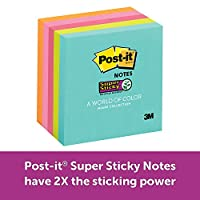 "Post-it Super Sticky Notes, 2x Sticking Power, 3"" x 3"", Miami Collection, 5 Pads per Pack, 90 Sheets per Pad (654-5SSMIA)"