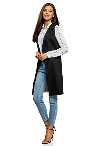oodji Collection Donna Gilet Lungo in Lino Nero (2900N)