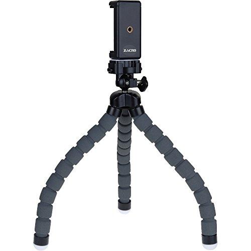 Zacro Mini Stativ mit flexiblen Beinen inkl. Smartphone Stativ Adapter perfekt für Smartphone Handy iPhone und kleine Kamera