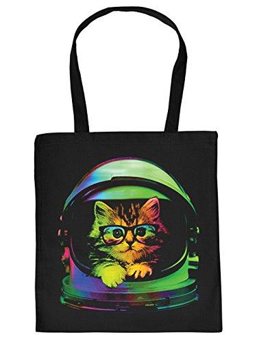 Ausgefallene Stofftasche in schwarz mit creativem Neon Motiv: Space Kitten - Katzenbaby mit Nerd...