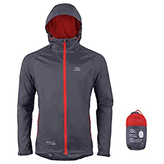 Highlander Waterproof Packaway Jacket Lightweight Rain Coat for Men Women and Kids - Light and Breathable Mac that Packs into its own Convenient bag - The Stow & Go (Charcoal, Large)