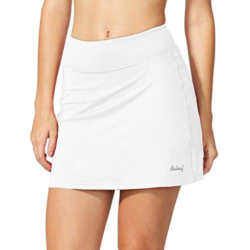Baleaf Damen Skort Sport Hosenrock mit Tasche für Laufen Tennis Golf Weiß XL