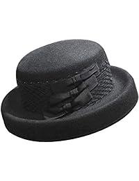 Edith qi Donne Cappello Cloche di Lana 100% Cappelli di Fiori Vintage Anni   20 9c694ce943a6