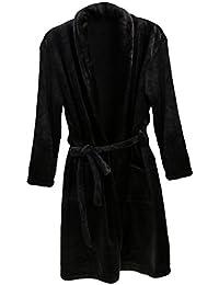 Homme Peignoir de Bain Chaud Doux Luxe Molleton SPA Robe en Laine Polaire Vêtement de Nuit - Noir, L