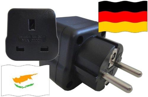 Preisvergleich Produktbild Reise-Adapter DEUTSCHLAND auf Zypern GER - CY Travel Plug GERMANY-Reise (Schutzkontakt, 2200Watt)