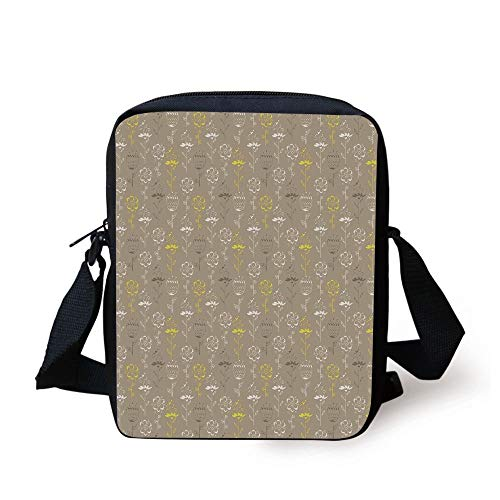 Grey and Yellow,Hand Drawn Sketchy Tulips Flowers Leaves Butterflies Art Image,Cocoa Black and White Print Kids Crossbody Messenger Bag Purse -