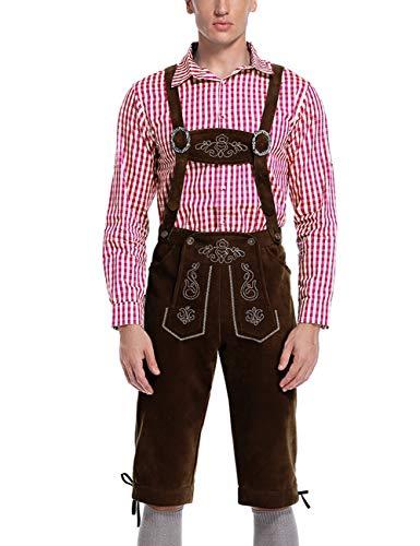 KOJOOIN Trachten Herren Lederhose Trachtenlederhose Kniebundhose mit Trägern(Verpackung - Herr Oktoberfest Kostüm
