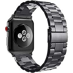 Fintie Bracelet pour Apple Watch 42mm 44mm Série 4/3/2/1 - Bracelet de montre en Acier Inoxydable Wrist Band Montre Strap Remplacement avec Métal Fermoir, Noir
