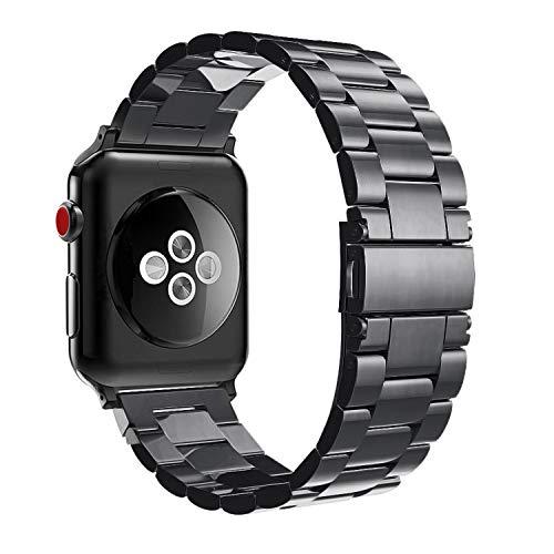 Fintie Armband kompatibel mit Apple Watch 44mm 42mm Series 4/3/2/1 - Edelstahl Metall Ersatz Band Uhrenarmband Replacement mit Doppelt verriegender Faltschließe, Schwarz Edelstahl-gps