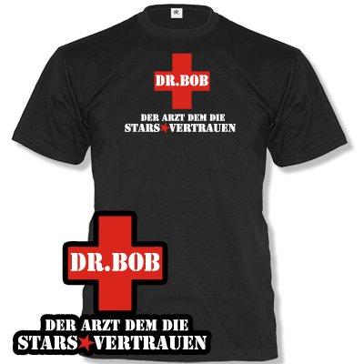 DR. BOB - DER ARZT DEM DIE STARS VERTRAUEN - STYLE FUNSHIRT - HERREN FUN T-SHIRT SCHWARZ Gr. (Witzige Dschungel Party Kostüm)