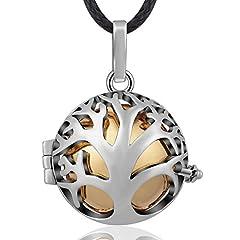 Idea Regalo - Eudora Harmony Ball - Collana con ciondolo, motivo: albero genealogico, a sfera, collana da donna, placcato argento, colore: Gold, cod. FB-H111A21-45