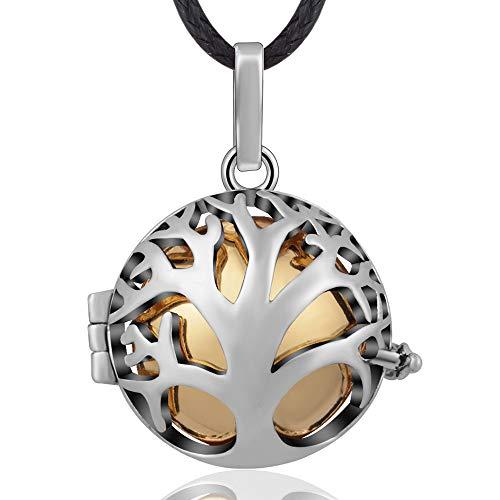 Eudora ciondolo con palla di armonia albero genealogico della vita medaglione musica ciondolo con palla di carillon collana per gioielli donna miglior regalo, 114 cm