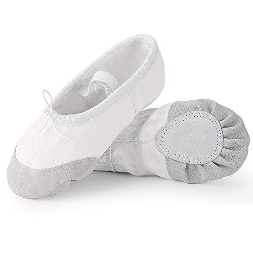 Soudittur Zapatillas de Ballet Suela Partida de Cuero Calzado de Danza para Niña y Mujer Adultos Blancas...