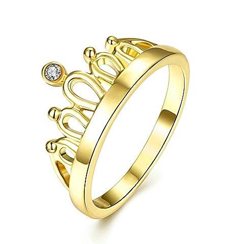 KnSam Damen-Ring 18k Gold Vergoldet Hochezeitsringe Prinzessin Krone 5A Zirkonia Eheringe Gold für Frauen Größe 57 (Prinzessin Set Manschettenknöpfe)