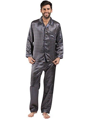 Mens/Gentlemens Nachtwäsche/Sleepwear Satin gedruckt Langarm Pyjama Anzug Satz, verschiedene Farben & Größen (Gedruckt Satin Kleid)
