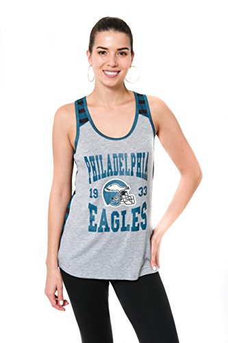 Icer Brands NFL Damen Jersey Ärmelloses Mesh Weiches Tank Top T-Shirt, Team Logo Farbe, Damen, JTL2186A-PE-Large, GYH, Large (Ärmelloses Eagle)