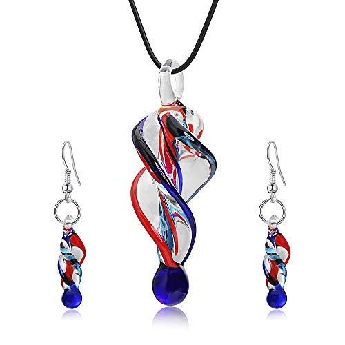 KNDJSPR Exotischer Stil Spirale Glas Halskette Ohrringe Schmuck Set mit Handgemachten Spiral Tornado Design Mode Einfach farbige Glasur Ohrring Match Set Geschenke für Frauen - Kind Tornado Kostüm