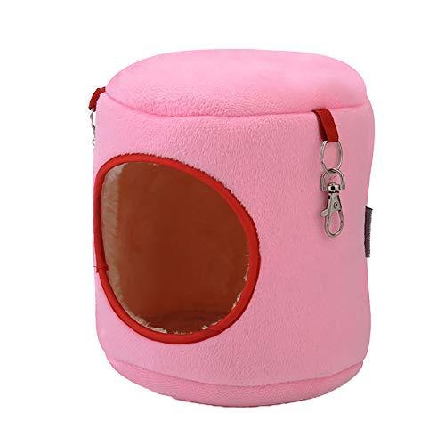 Naisicatar Haustier-Nest-Warm Fleece Cave Bed Eichhörnchen Hamster Nest-Winter-warme Baumwolle Nest für Kleintierbedarf 12 * 10 cm rosa 1PC Geschenk für den Winter
