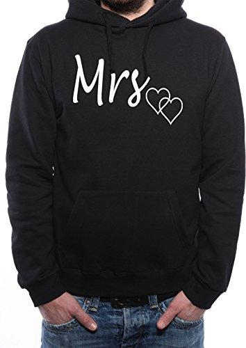 *Mister Merchandise Herren Men Pullover Hoodie Mrs. Ehefrau Mann und FrauKapuzenpullover Pulli bedruckt Schwarz, XL*