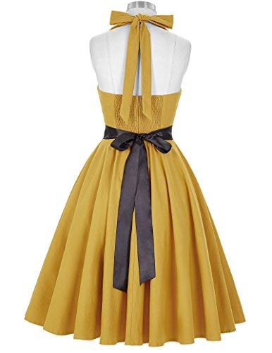 50s Retro Vintage Rockabilly Kleid Neckholder Festliches Kleid Petticoat Kleid CL8950-4(Gelb)