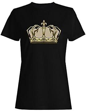 Novedad divertida del arte de la reina del rey de la corona camiseta de las mujeres a608f