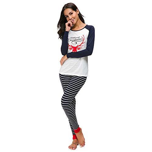 Damen Lange Ärmel Weihnachts Pyjama-Set T-Shirt Hose Nachtwäsche -