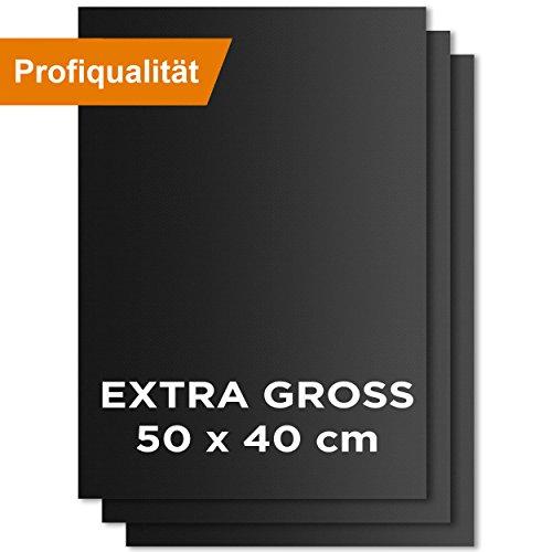 KOMOTO Premium BBQ Grillmatte 3er Set I EXTRA GROSS 50x40 cm I für Gasgrill & Holzkohle Grill I wiederverwendbare Backmatte I mit Antihaftbeschichtung