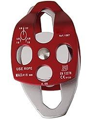 32KN Polea Rodamiento Dobles de Aluminio para Escalada Montañismo -Plata Rojo