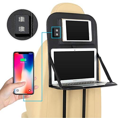 ablet Schreibtischständer, mit 4 x USB-Ladeanschluss Automobile Auto Rücksitz Computer PC iPad Tischrücksitz Protector Cover Organizer Hängende Tasche,Black1 ()