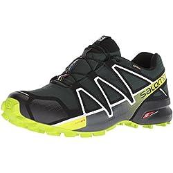 Salomon Speedcross 4 GTX, Zapatillas de Trail Running para Hombre, Verde (Darkest Spruce/Black/Acid Lime), 44 EU