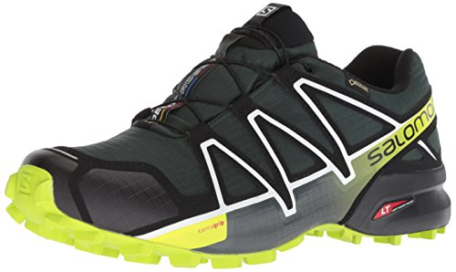 Salomon Speedcross 4 GTX, Scarpe da Trail Running Impermeabili Uomo, Verde (Darkest Spruce/Black/Acid Lime), 44 2/3 EU
