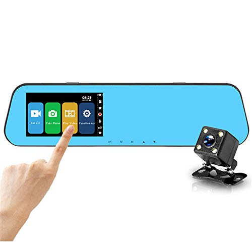 QUARK 4.3 Inch 1080P Dual Lens Backup Auto Side Rear View Car Mirror Camera Reverse DVR Hidden Camera in Car Mirror (Cam Side-dash)