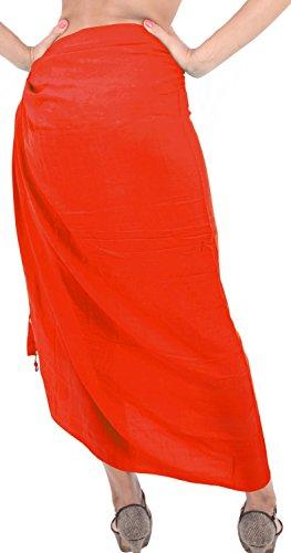 La Leela dolce rayon avvolgere spiaggia solido nappe conchiglie coprire sarong 70x43inch Alba Arancione