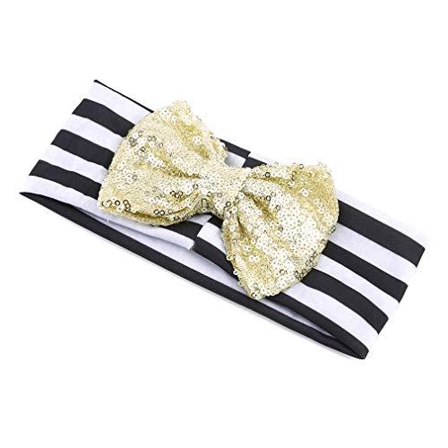 Hengxing Babymädchen Pailletten Bogen Haarschmuck Prinzessin Glitter Streifen Tiara Stirnband Bogen Stirnband Für Geburtstagsfeier Tanz, Schwarz Und Gold Bogen