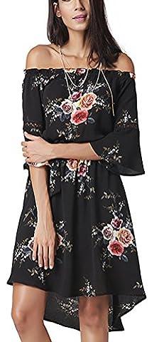 SunIfSnow - Robe spécial grossesse - Plissée - À Fleurs - Manches 3/4 - Femme - noir - Small