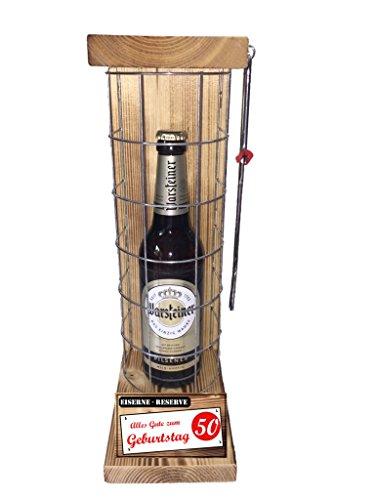 Alles Gute zum 50 Geburtstag - Die Eiserne Reserve Warsteiner Pilsener 0,50L incl. Säge - Das ausgefallenes witziges originelles lustiges Geschenk zum 50. Die Geschenkidee für Mann & Frau
