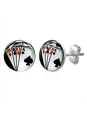 bkwear 1 Paar Ohrstecker OS 27 bk3 Poker Spielkarten Unisex Ohrringe Edelstahl Stecker 7 mm