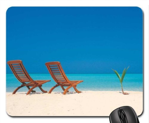 Decks Chairs on White Sand Mouse Pad, Mousepad (Beaches Mouse Pad)